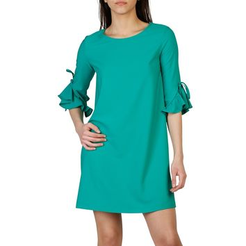 Imperial Green Boat Neck 3 4 Sleeve Short Dress