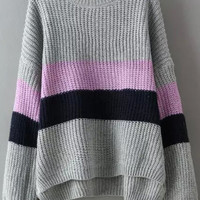 Multicolor Round Neck Striped Dip Hem Sweater -SheIn(Sheinside)