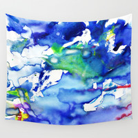 Blue watercolor. Wall Tapestry by Regan's World