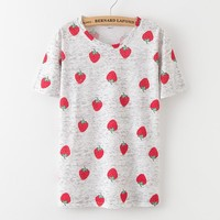 Harajuku Fruit Strawberry Print