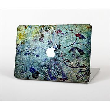 The Grungy Dark Black Branch Pattern Skin Set for the Apple MacBook Pro 15""