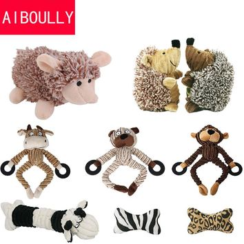 Dog  Puppy Plush Toys Pet Puppy Chew Squeaker Squeaky Plush Sound Hedgehog Sheep Monkey Cow  Dumb Pet Talking Toys Dog Cat Toy
