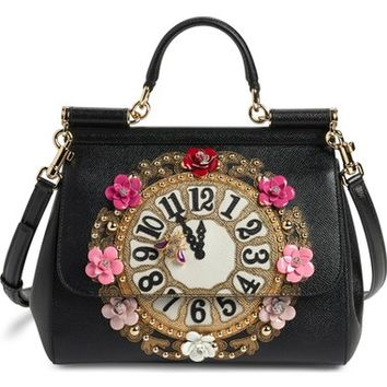Dolce&Gabbana 'Small Miss Sicily - Floral Clock' Calfskin Leather Satchel | Nordstrom