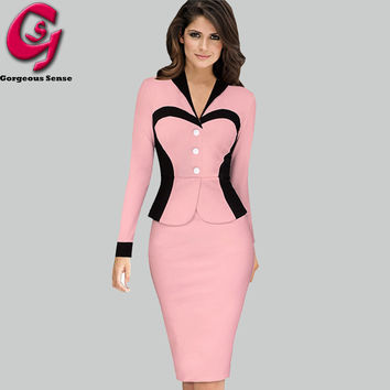 Women Formal Office Work Knitted Dress Womens Pin up Tunic Bodycon Pencil Party Dresses Ladies Long Sleeve Sheath Clothes 2016