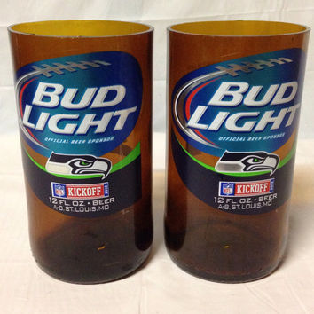 Bud Light Beer Bottle Tumbler Drinking Glasses. Recycled Glass Bottles. Man Cave. For Him. Seahawks Football.