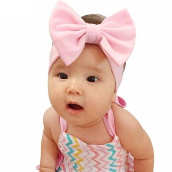 "5"" Big Bow Baby Girl Headbands Accessories  Solid Head Wrap Elastic Set of 3 One Size"