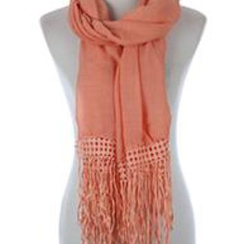 Beautiful LA  PEACH LACE TRIM FRINGE  SCARF  Long 76X26