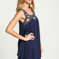 NAVY EMBROIDERED CUT OUT SHIFT DRESS