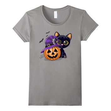 Pumpkin in a Hat with this Cute Cat T-Shirt Distressed