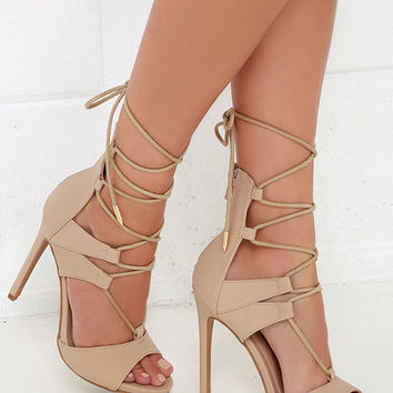 Fashion District Nude Nubuck Leg-Wrap Heels