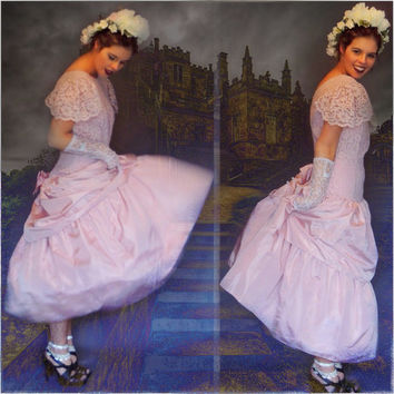 Vintage bridesmaid dress / soft muted pink taffeta and old lace princess prom gown / cap sleeve drop waist Gatsby girly grunge wedding frock