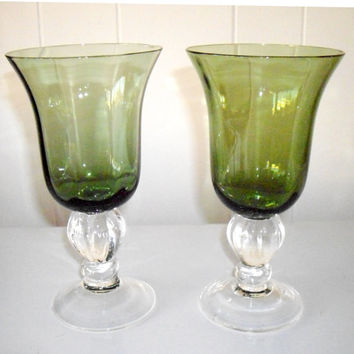 Vintage Lenox Crystal Goblets, Water Glasses Green Crystal, valentines day, anniversary
