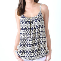 Tribal Print Tank Top with Crochet Sides