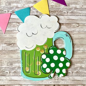 Green Beer and Clover St Patrick's Day Wooden Door Hanger or Wall Decor