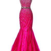 KC131516 Pink Jeweled Mermaid Prom Dress by Kari Chang Couture