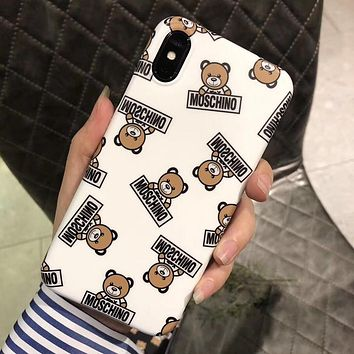Moschino Tide brand cute bear iPhone XS Max mobile phone case cover White