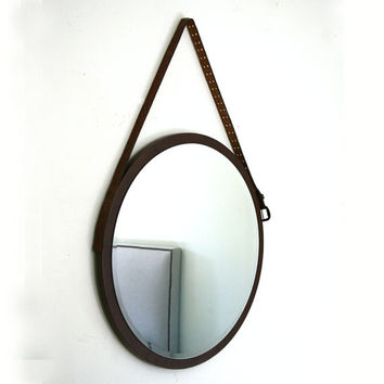 "16"" Round Mirror. Mid-century Modern Mirror. Danish Mirror. Vintage Leather Belt Mirror. 16"" x 16"". Gift Idea."