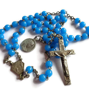 Vintage Rosary . Blue Beaded Rosary . Religious Cross Crucifix . Prayer Necklace .