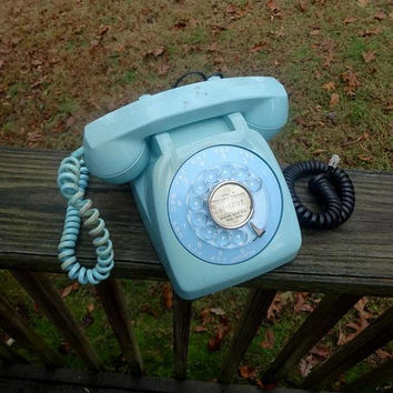 Rare 1963 Vintage AQUA Rotary Dial Telephone by Monophone, Automatic Electric, Illinois, Curly Cord, Mid Century Phone, Vintage Technology