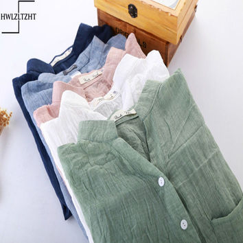 Linen Three Quarter Sleeve Hollow Out Solid Girl Blusas Shirts  Loosen Work Office Casual Blouse Shirt Women Vintage blusa