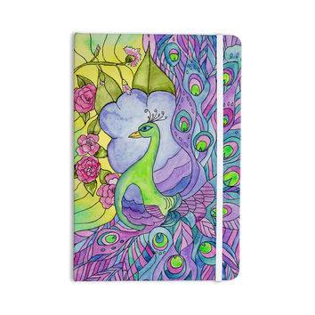 "Catherine Holcombe ""Stained Glass Watercolor Peacock"" Purple Green Everything Notebook"