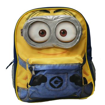 "Despicable Me 2 Minions 3D Eyes 12"" Blue & Yellow School Backpack"
