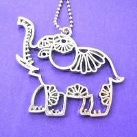 Elephant Outline Pendant Animal Necklace with Floral Detail in Silver