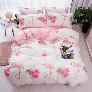 HOT Sale Fashion Luxury pink flamingos Cartoon Printing Double king queen Pattern Bedding sets Duvet cover Flat sheet Pillowcase