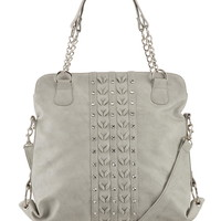 satchel with rhinestones and weave stitch front