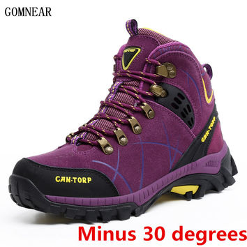 GOMNEAR New Arrival Winter Women's Warm Real Wool Hiking Shoes Outdoor Antiskid Winter Trekking Sport Shoes Hiking Sneakers
