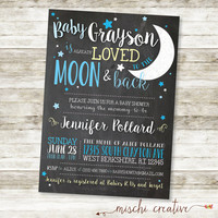 "Love You to the Moon and Back Chalkboard Baby Boy Shower DIY Printable Invitation in Blue and Soft Yellow, 5"" x 7"""