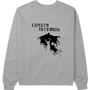expecto patronum sweater Gray Sweatshirt Crewneck Men or Women for Unisex Size with variant colour