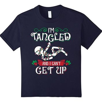 Tangled in Christmas Lights Can't Get Up Funny T Shirt