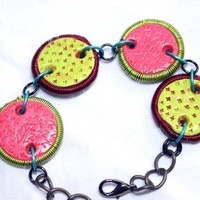 Wire Coil and Polymer Clay Bracelet in Pink and Green