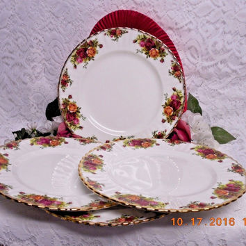 Royal Albert China Dinnerware England Old country roses 4 Dinner plate Second