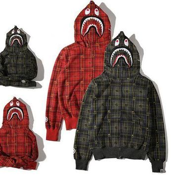 DCCKL7H Men's Fashion Winter Plaid Hats Zippers Hoodies Jacket