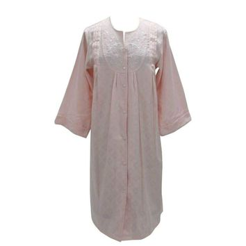 Miss Elaine Snap Buttons Front Woven Jacquard Robe 851702 Pink Medium