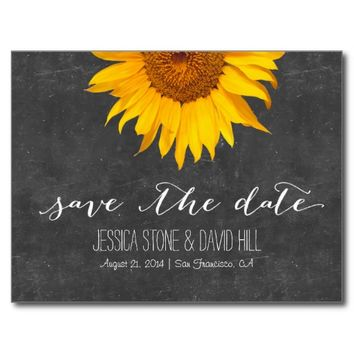 Country Sunflower Chalkboard Wedding Save the Date