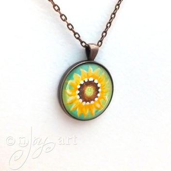 Sunflower Art Pendant, NOT a print, wearable art with necklace, original acrylic painting under glass, mini art