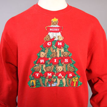 80s Ugly CHRISTMAS SWEATER / Teddy Bears in a Xmas Tree / Spots for LIGHTS