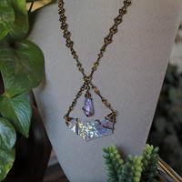 Amethyst & Angel Aura Quartz Necklace with our SIGNATURE HANDMADE Chain, Opal Aura Crystal Jewelry, Hippie Festival Fashion, Statement Piece