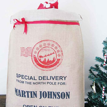 Personalized Christmas sack, Hessian,burlap ,xmas stocking, Hand Screen Printed