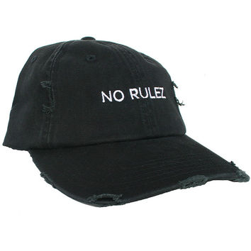 No Rulez Distressed Baseball Cap