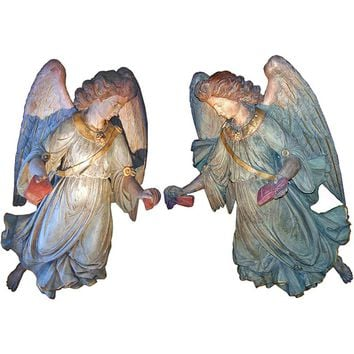 Monumental Pair of 18th Century Polychrome and Parcel-Gilt Angels