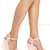 Sweet Caroline Nude Jelly Wedge Sandals