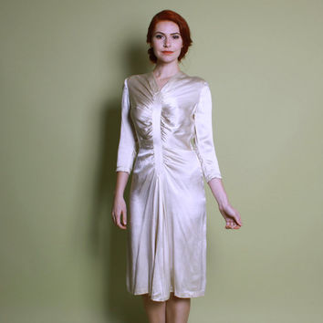40s Ivory Silk Satin WEDDING DRESS / Glossy WWII Era Gathered Gown, s