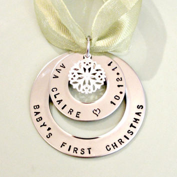 Baby's First Christmas - Personalized Hand Stamped Christmas Ornament - Anniversary Our First Christmas - Custom Christmas Gift