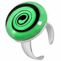 Akuamarina Designer Rings Swirling Murano Glass & Sterling Silver Open Ring