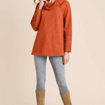 Cozy Cowl Neck Tunic - Persimmon