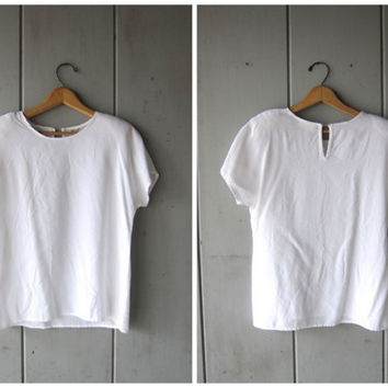 80s White Crop Top Button Up Rayon Blouse Cap Sleeve Cropped Shirt Minimal Preppy 90s Boho Tee Crisp Natural White Top Womens XS Small